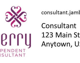 "Jamberry customized return address labels, 2.5"" x 1"""