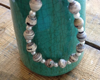 Recycled Paper Necklace in Pearl