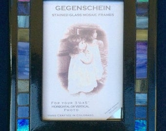 Winter Rain - 3.5 X 5 Green, Blue, and Lavender Iridescent Stained Glass Mosaic Mirror/Picture Frame - D1-4