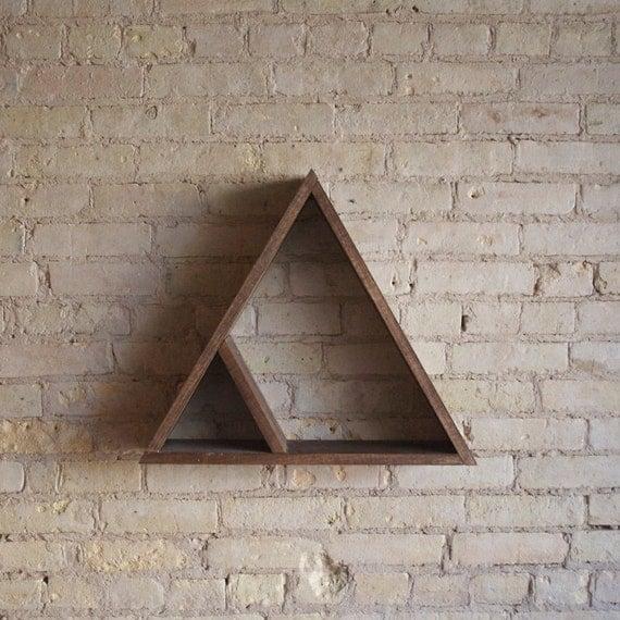 Triangle Wood Floating Shelf, Decor, Walnut or Jacobean With Inner Shelf