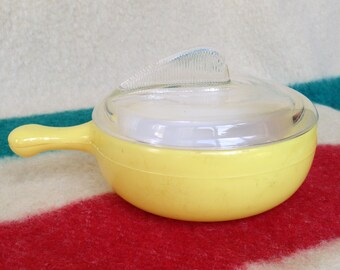 Yellow Individual Oven Crock Glasbake - Vintage