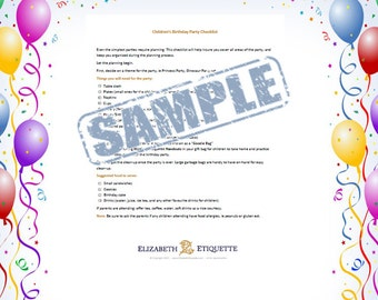 Children's Birthday Party Checklist with Etiquette Tips - Printable PDF (INSTANT DOWNLOAD)