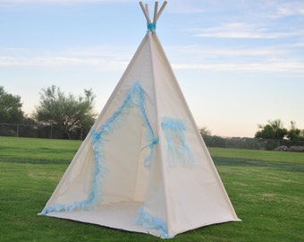 Blue Enchantress Muslin Kids Teepee, Kids Play Tent, Childrens Play House, Tipi,Kids Room Decor
