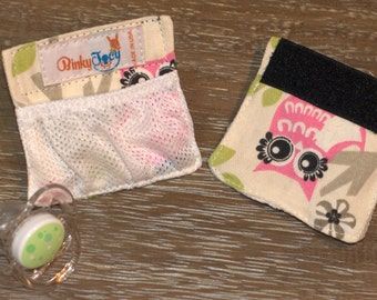 Pacifier Pouch, Binky Holder for your baby crib, stroller, diaper bag, car seat.Extend sleep, teach independence w/this back up binky holder