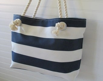 Navy stripe bag | Etsy