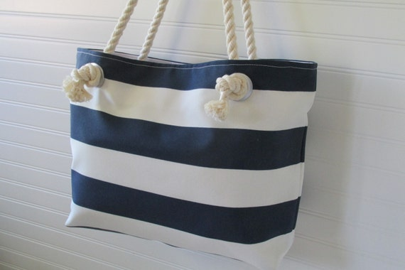 Zippered Large Beach Tote Bag MONOGRAM Navy and White Cabana