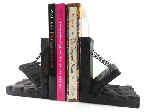 Vintage castle drawbridge bookends goth by veritasmarketplace - Gothic bookends ...