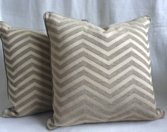 Chevron Designer Pillow Cover Pair - Beige/Taupe