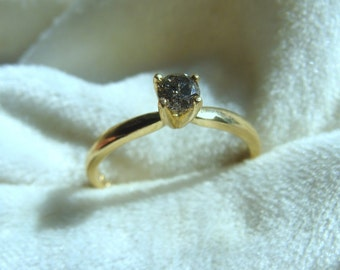 Natural Black Diamond Solitaire Ring. Oh My!