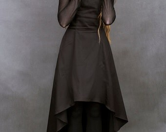 casual gothic victorian nu goth black dress long asymetric