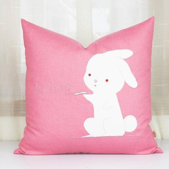 Cute Bunny Pillow : Love rabbit pillows throw pillows sofacute rabbit by PerfectHM