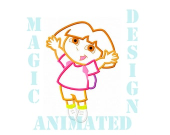 Dora The Explorer Machine Applique Design in 2 sizes ---Instant download---