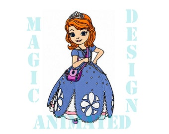 Sofia Princess Machine Embroidery Design in 4 sizes ---Instant download---