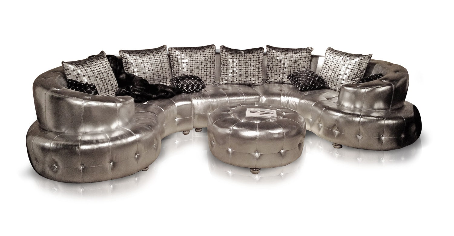 Curved Silver Sectional Sofa With Tufted White Crystals