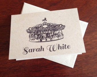 Merry go round Personalized Note Cards (set of 10)