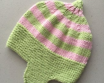 Baby Hat, Knitted Cotton Hat, Beanie, Girls Hat, Pink and Apple Green