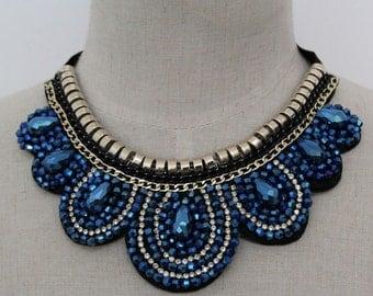 Collar Necklace - Blue - Detachable Collar Necklace -Statement Necklace