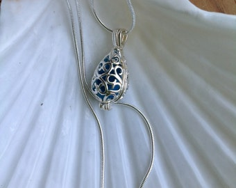 Aqua Blue Seaglass Caged Pendant