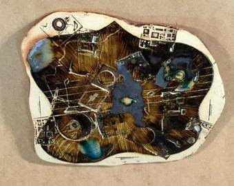 Cyberspace Melody I iPODDERY Vania Setti Settiarts Ceramics Art Stoneware Plaque