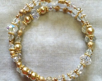 Icy and Gold Coil Bracelet