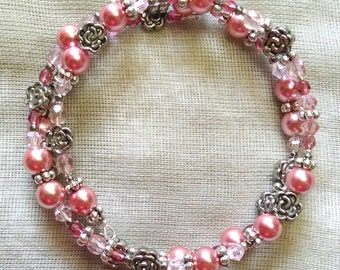 Pinks and Chrysanthemum Coil Bracelet
