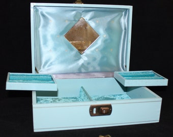 Pretty, Vintage, Blue Leatherette, Jewelry Box With Swivel Trays, Lock and Key