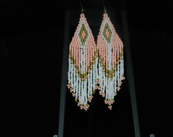 Seed Bead Feather Earrings