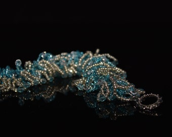 FT123  Aqua Crystals and Silver Fringe Bracelet, Size 7