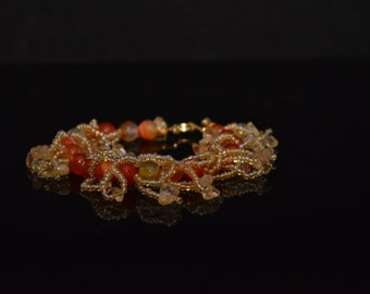 FT16 Orange Carnelian Fringe Bracelet, Size  7 1/2""