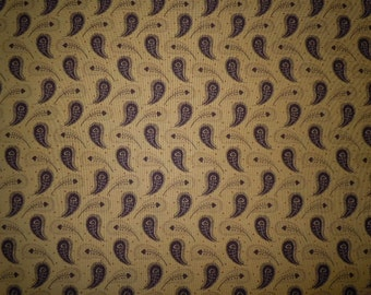 Brown and Tan Teardrop with Hearts on Tan Background, Collections Love by Howard Marcus for Moda Fabrics, 100% Cotton