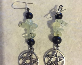 Aventurine and Pentacle Earrings
