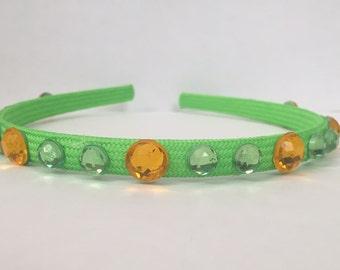 "Green and Yellow Hard Headband - ""Monterey Hills"""