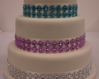 Sparkling Flower Diamante effect cake trim and double satin ribbon 3 metre – silver, pink, turquoise