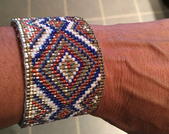 Red, White, and Blue, Bohemian, Native American, Loom Beaded Bracelet