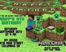 Minecraft Invitation, Minecraft Birthday, Minecraft, Minecraft Thank You