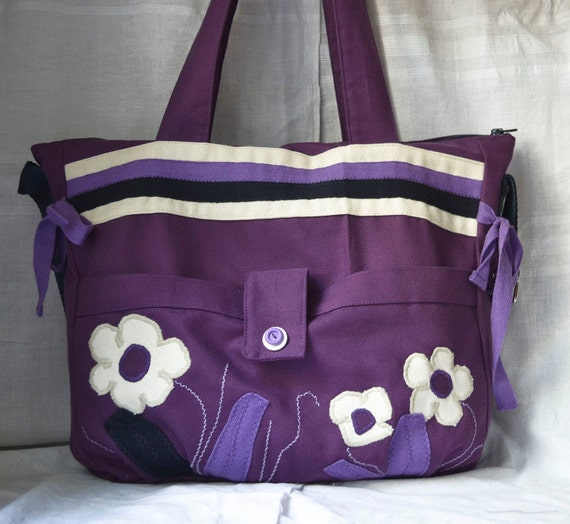 purple purse large handbag overnight bag by purpleflowerpurses. Black Bedroom Furniture Sets. Home Design Ideas