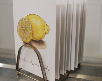"""Produce Print """"Make Lemonade"""": Artisan Watercolor and Hand Lettered Note Card"""