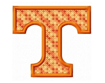 Tennessee T Applique Embroidery Design 2x2 4x4 5x7 6x10 Vols INSTANT DOWNLOAD