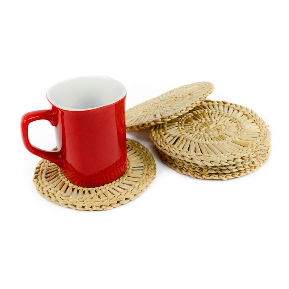 Set Of 6 Bulrush Coasters Coffee Mug Table Bar Drinks Rush