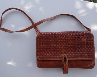 Vintage Saks Fifth Avenue Weaved Leather Purse