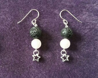 Fragrance Diffuser in silver, rose quartz, lava stone and stars earrings