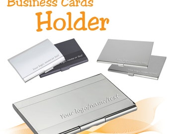 Metal Personalised Business Card Holder *** free laser engraved with name/logo. ** UK Gift. ** free UK delivery