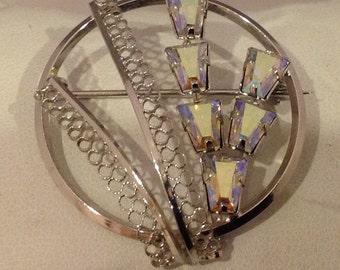Sterling Silver Star-Art Crystal Pin/Brooch