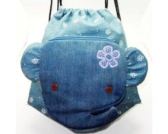 Cute Sirins Elephant Drawstring Backpack_Denim, School Bag
