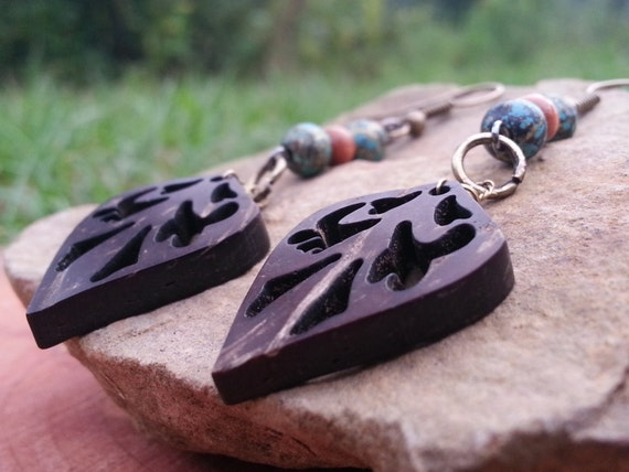 Long Wooden Carved Leaf Dangle Earring