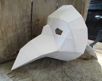 DIY Halloween mask, Plague Doctor Mask, Paper bird mask, crow, magpies, raven mask, Printable Mask