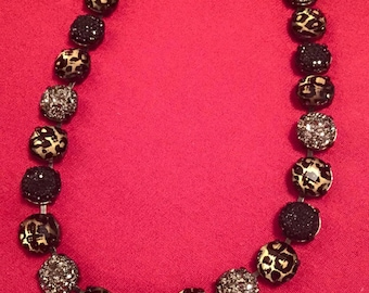 12mm stone leopard necklace