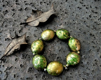 Forest Green and Gold Bracelet