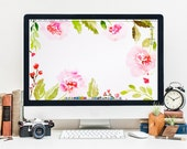 Floral Wreath Desktop Wallpaper - INSTANT DOWNLOAD, Watercolor Flowers Hand Painted Illustration, Screensaver Gift for Creatives