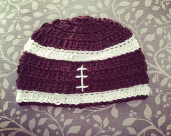 Crochet Football Themed Hat -Any Team Colors